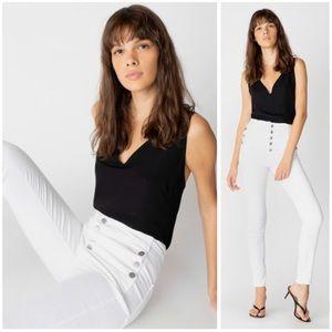 J Brand Natasha Sky High Rise Skinny Jeans White
